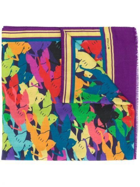 Fioletowy z kaszmiru szalik z printem Etro