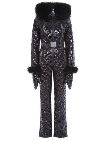 Черный нейлоновый спортивный костюм с карманами с декоративной отделкой Naumi