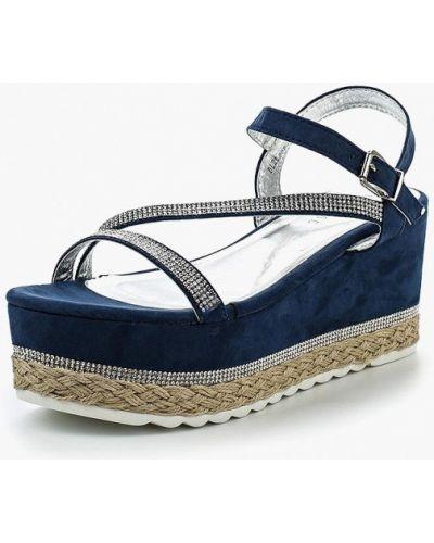 Синие босоножки на каблуке Damerose