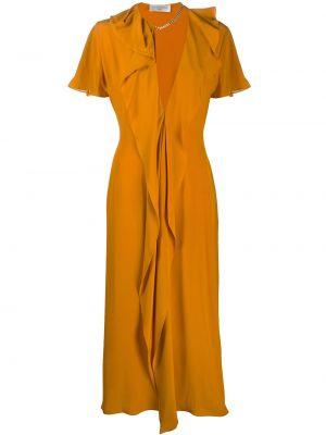 Желтое платье миди со складками с декольте свободного кроя Victoria Beckham