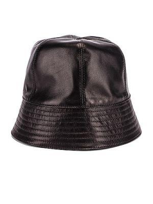 Czarny kapelusz skórzany Loewe