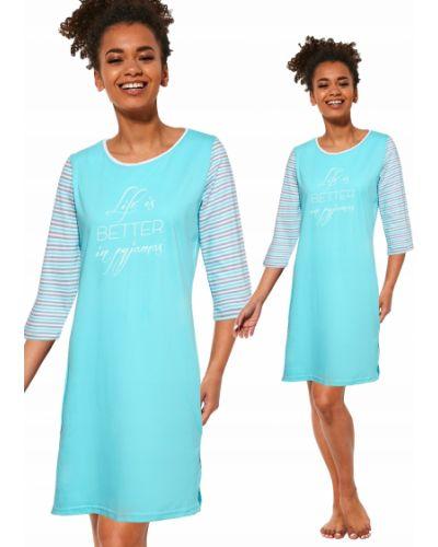 Koszula bawełniana turkusowa Cornette