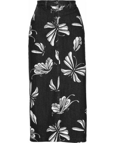 Серая джинсовая юбка с кокеткой с карманами на пуговицах Bonprix