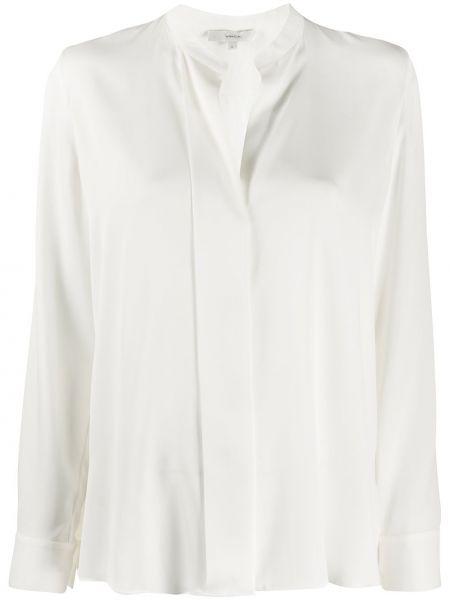 Белая шелковая длинная рубашка с воротником Vince.