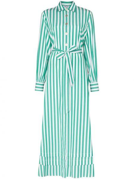 Zielona sukienka długa w paski z długimi rękawami Evi Grintela