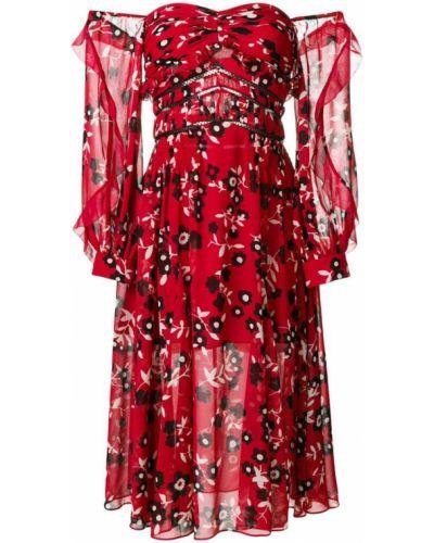 Платье миди с цветочным принтом на пуговицах с открытыми плечами Self-portrait