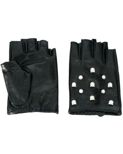 Кожаные перчатки с жемчугом Karl Lagerfeld