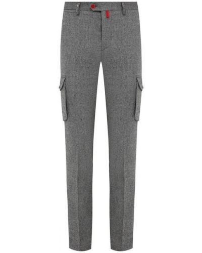 Шерстяные серые брюки карго Kiton