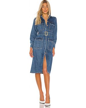 Джинсовое платье на пуговицах с поясом Bardot