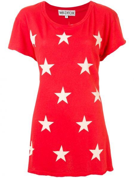 Хлопковая красная прямая футболка с круглым вырезом Wildfox