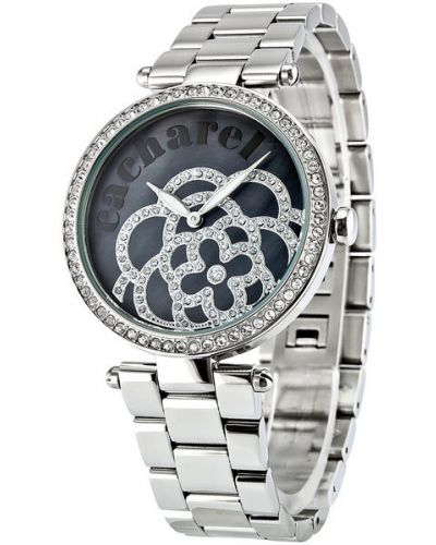 Кварцевые часы черные с камнями Cacharel