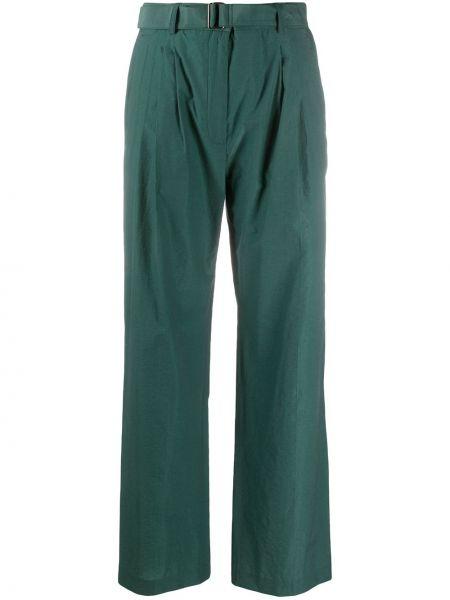 Прямые зеленые брюки с высокой посадкой из вискозы Christian Wijnants