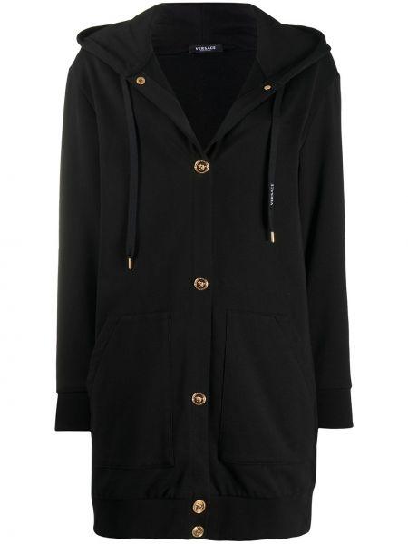 Черное длинное пальто с капюшоном на пуговицах Versace