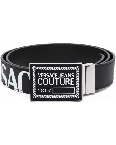 Czarny pasek z klamrą Versace Jeans Couture