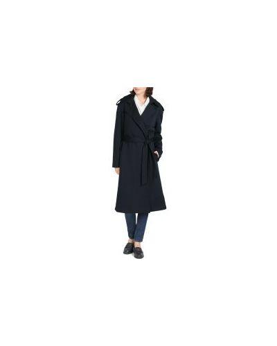 Синее пальто с поясом с кокеткой на пуговицах Tommy Hilfiger