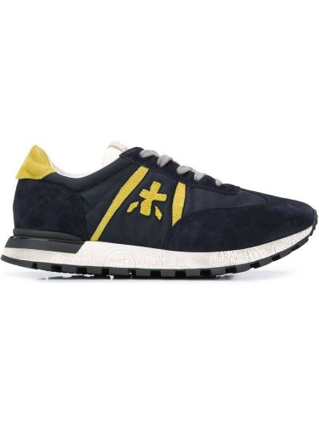 Кожаные синие кроссовки на шнуровке Premiata