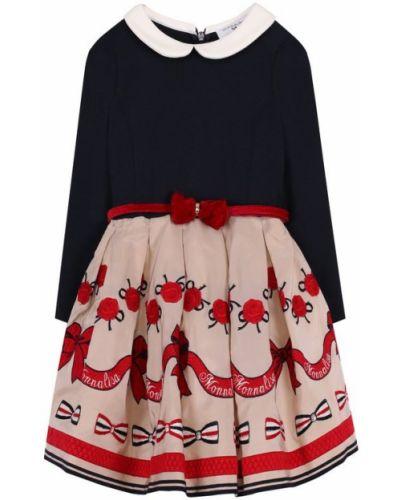 Платье с поясом с вышивкой велюровое Monnalisa