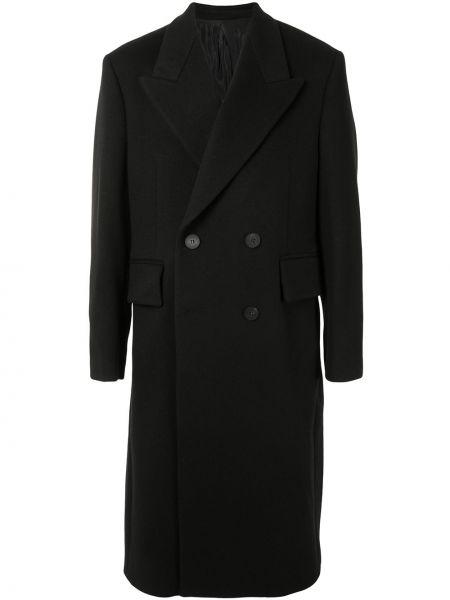 Классическое черное шерстяное пальто классическое на пуговицах Wooyoungmi