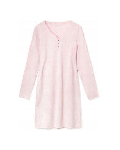 Różowa koszula nocna bawełniana z długimi rękawami Atlantic