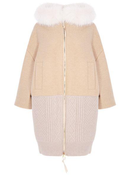 Пальто с капюшоном на молнии шерстяное Agnona