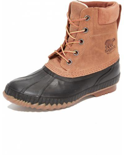 Черные кожаные ботинки на шнурках Sorel