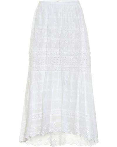 Ажурная хлопковая белая юбка миди Loveshackfancy