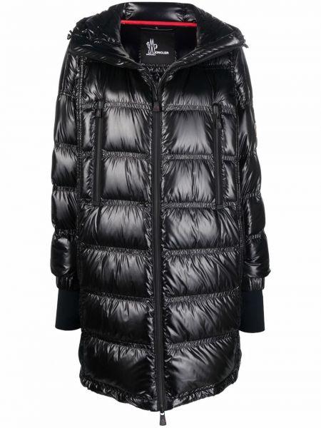 Czarny długi płaszcz z kapturem Moncler Grenoble