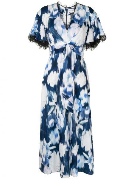 Niebieska sukienka rozkloszowana koronkowa Sachin & Babi