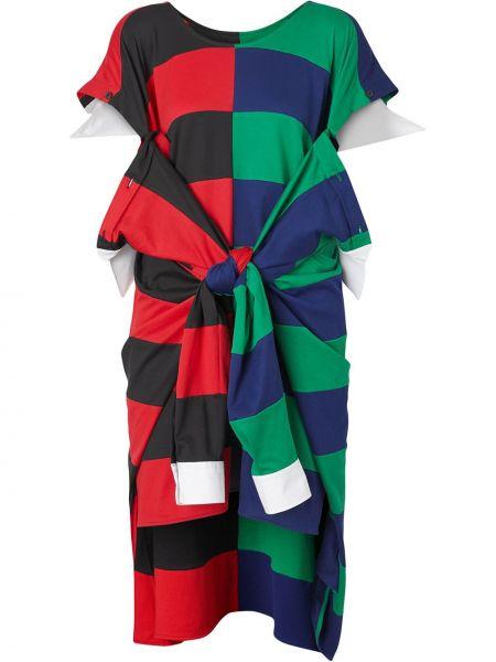 Красное платье мини с вырезом с короткими рукавами круглое Burberry