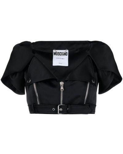Черный пиджак на молнии из вискозы Moschino