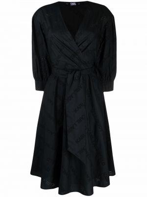 Черное платье макси с вышивкой с вырезом Karl Lagerfeld