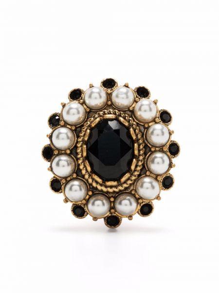 Złote kolczyki perełki - czarne Dsquared2