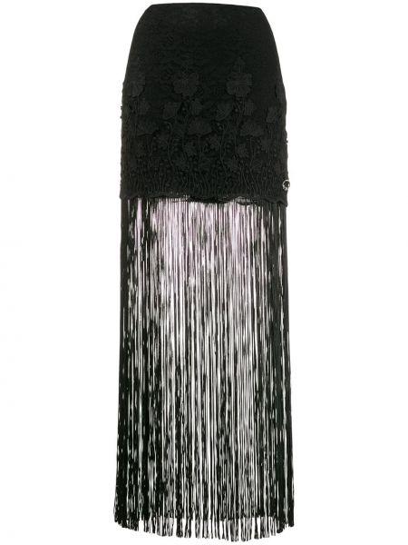 Ажурная черная юбка макси с бахромой Just Cavalli