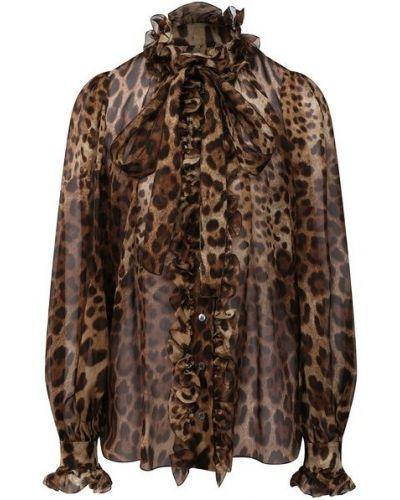 Коричневая шелковая блузка Dolce & Gabbana
