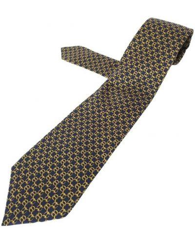 Złoty krawat - czarny Hermès Vintage