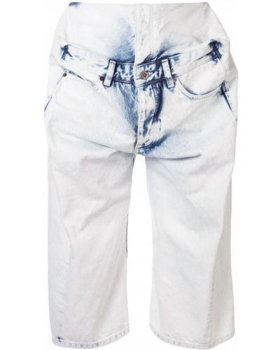 Белые джинсовые шорты с карманами со стразами Y/project