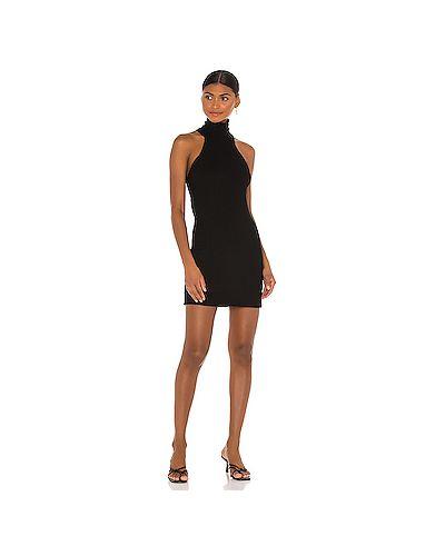 Черное шелковое платье в рубчик Michael Lauren