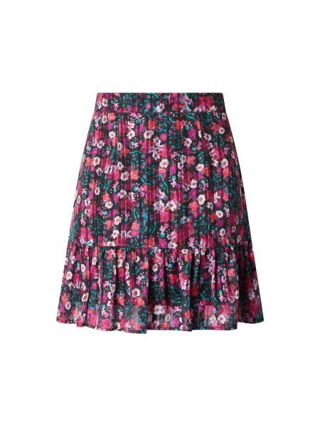 Różowa spódnica mini rozkloszowana z falbanami Guess