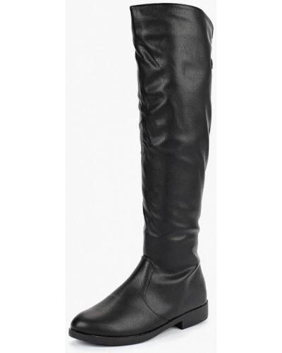 Ботфорты на каблуке кожаные черные Vivian Royal