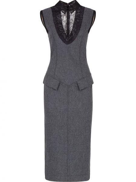 Прямое шерстяное серое платье Fendi