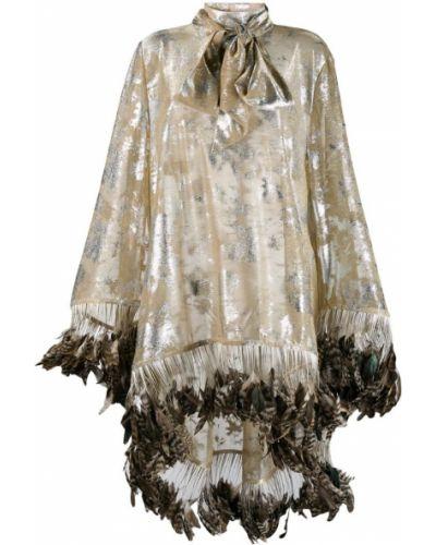 Свободная блузка с длинным рукавом с бахромой золотая Palomo Spain