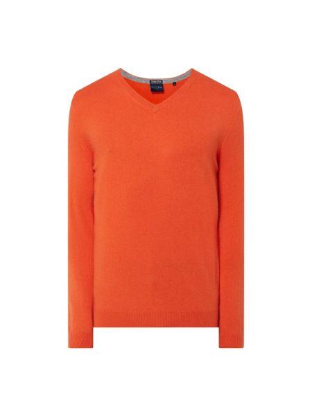 Pomarańczowy z kaszmiru sweter z dekoltem w serek Christian Berg Men