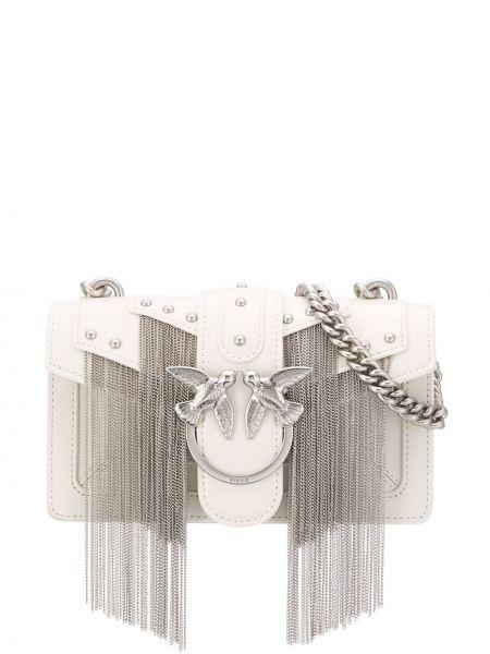 Розовая сумка через плечо с бахромой с заклепками Pinko