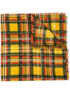 Зеленый шелковый шарф с опушкой Saint Laurent