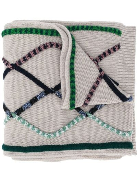 Серый шарф вязаный из овчины с декоративной отделкой Christian Wijnants