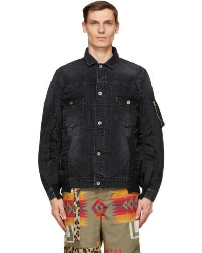 Czarne jeansy bawełniane z długimi rękawami Sacai
