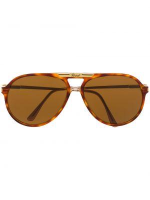 Коричневые прямые солнцезащитные очки с завязками Persol Pre-owned