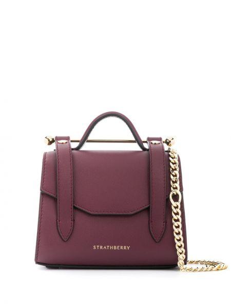 Fioletowa torba na ramię skórzana Strathberry