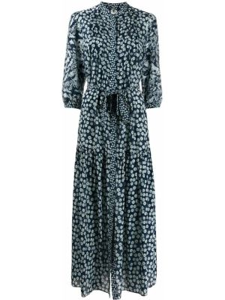 Платье мини с поясом с рукавами Saloni