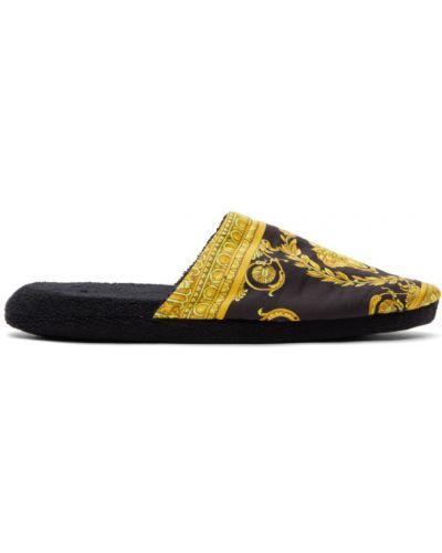 Сатиновые желтые тапочки с подкладкой Versace